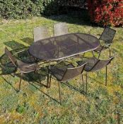 ALA MESH 6-SEATER GARDEN TABLE AND CHAIRS SET