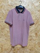 MENS JACK AND JONES SHORT SLEEVED POLO SHIRT IN RED, SIZE LARGE - RRP £22.00