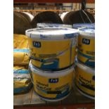 1 LOT TO CONTAIN 4 X 10L TUBS OF FEBOND BLUE GRIT, ITEMS HAVE BEEN LEAKED ON BY ANOTHER TUB, HOWEVER