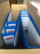 1 X BOX TO CONTAIN 8 X STAPLES LEVER ARCH FILES - BLUE / AS NEW
