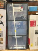 1 X FORM KONTOR CLEAR & GREY 44L 3 DRAWER STACKABLE TOWER UNIT RRP £13.00 (UNTESTED CUSTOMER