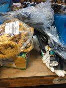 1 LOT TO CONTAIN AN ASSORTMENT OF B&Q PRODUCTS TO INCLUDE SITE COATED GLOVES AND MAGNUSSON GRASS