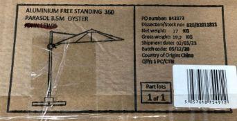 JOHN LEWIS PARASOL ALUMINIUM FREE STANDING 360 PARASOL 3.5M OYSTER