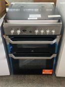 INDESIT ID60G2(W) COOKER IN SILVER / ONE MINOR DINT TO RIGHT SIDE PANEL, NO FURTHER DAMAGE (UNTESTED