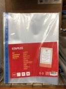 5 X BOXES OF STAPLES A4 PUNCHED POCKETS - 10 PACKS PER BOX / AS NEW