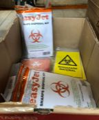 1 X SMALL BOX TO CONTAIN EASYJET SHARPS DISPOSAL KITS AND BIOHAZARD MATERIAL STICKERS / AS NEW