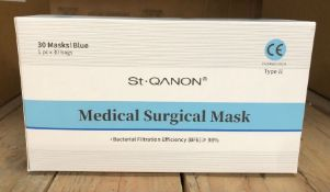 50 X PACKS OF ST QANON MEDICAL SURGICAL MASKS - 30 MASKS PER PACK / AS NEW