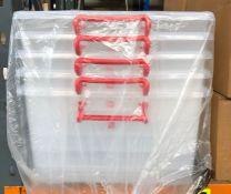 5 X CLEAR PLASTIC 50L STORAGE BOXES