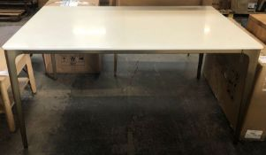 WEST ELM FRAME SOLID MARBLE 6 SEATER DINING TABLE, WHITE/BRASS