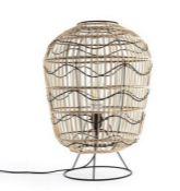 LA REDOUTE MARTABAN METAL AND RATTAN TABLE LAMP