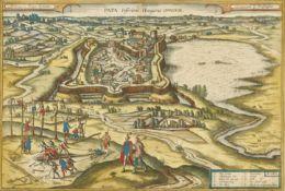 """HOEFNAGEL, GEORG (AUCH GEORGIUS HOUFNAGLIUS): """"Papa. Inferioris Hungariae oppidum""""."""