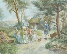 """GRISON, FRANÇOIS ADOLPHE: """"Jean Jacques Rousseau donnant une leçon de botannique à Ermenonville""""."""