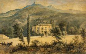 FRANKREICH, 19. JH.: Landhaus mit Bergsicht.