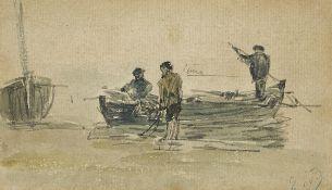 BOUDIN, EUGÈNE-LOUIS: Pêcheurs au bord de la mer.