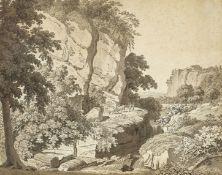 FOLLENWEIDER, JOHANN RUDOLF: Felsige Landschaft mit Bauernpaar und Vieh.