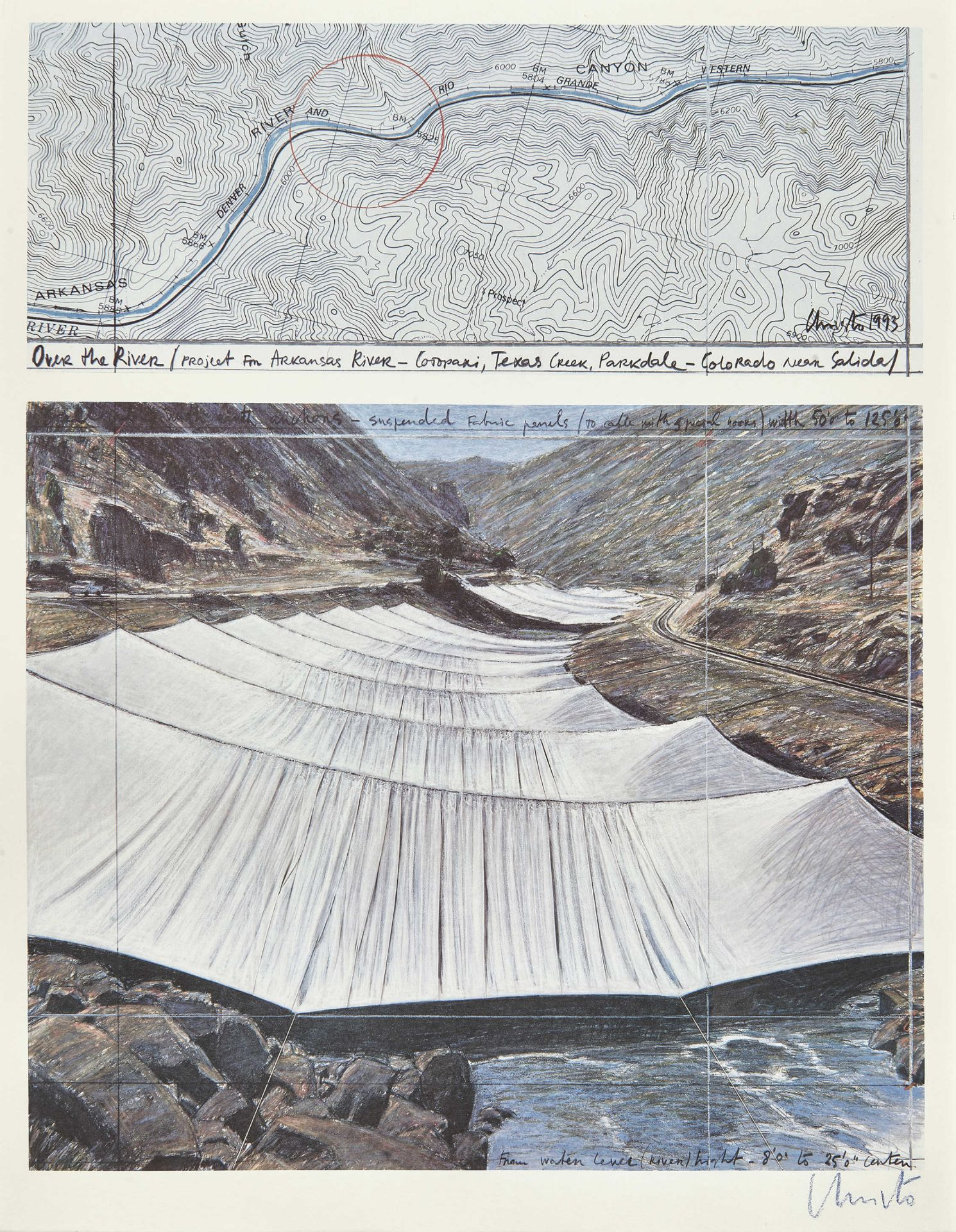 "CHRISTO & JEANNE-CLAUDE (JAVACHEFF, CHRISTO UND JEANNE-CLAUDE): ""Over the river (Project for Ark"