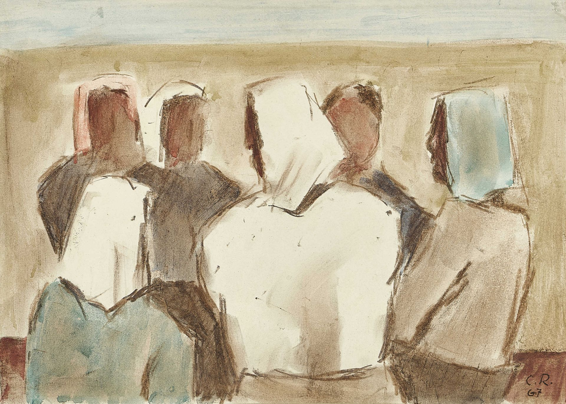 ROESCH, CARL: Frauen mit Kopftüchern.