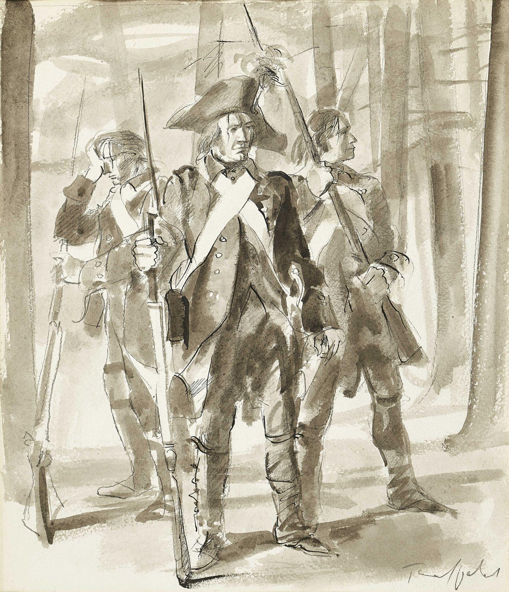 TRAFFELET, FRIEDRICH: Soldaten im Wald.
