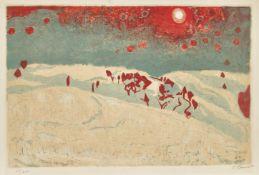 """AMIET, CUNO: """"Sonnenuntergang in Schneelandschaft""""."""