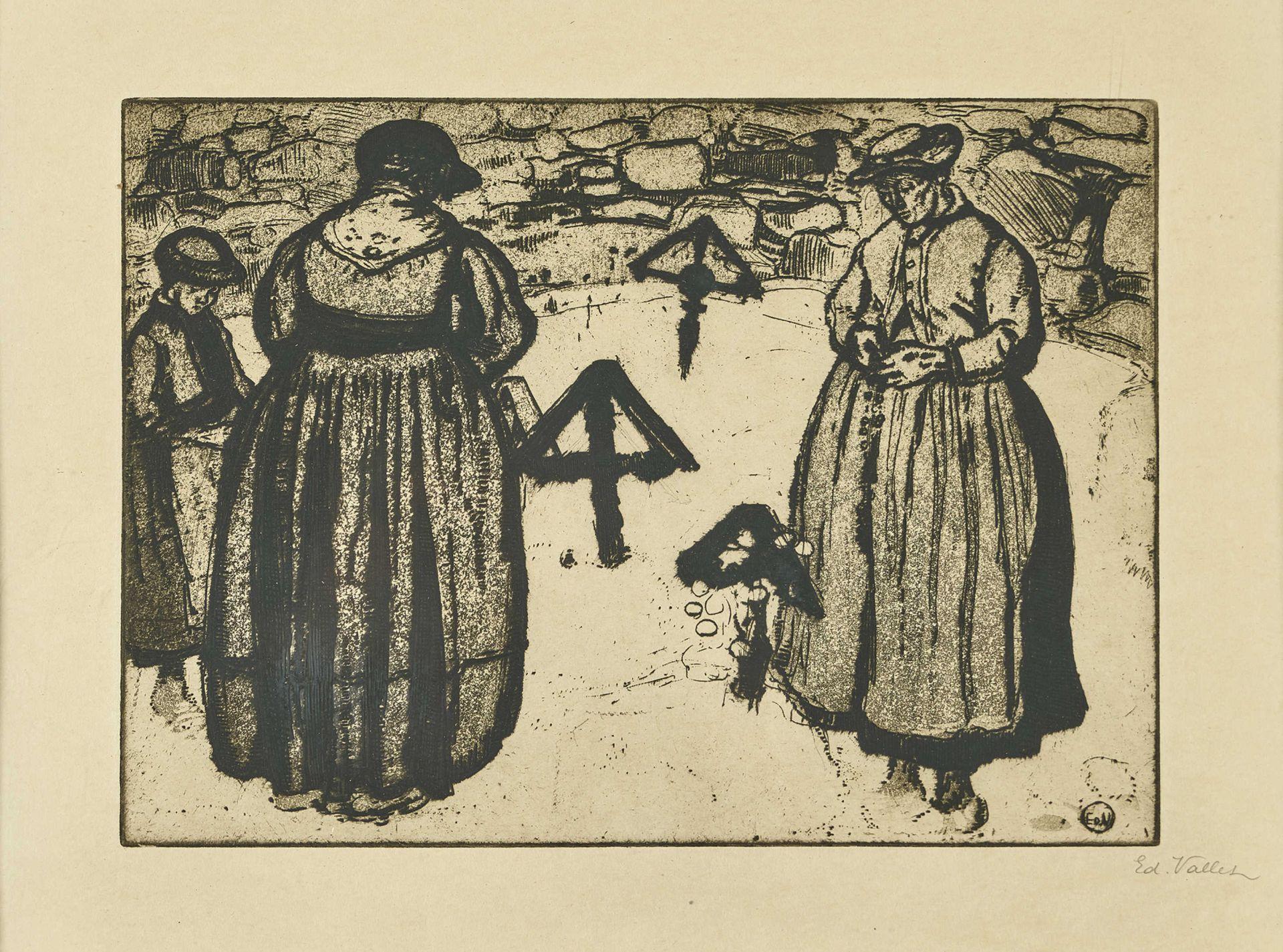 """VALLET, ÉDOUARD: """"Femmes au cimetière""""."""