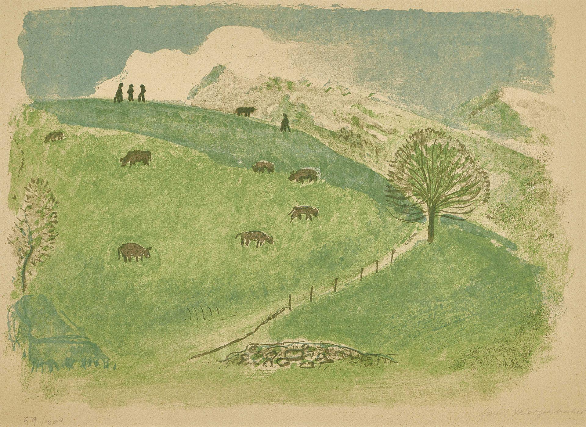 MORGENTHALER, ERNST: Kühe auf der Weide.