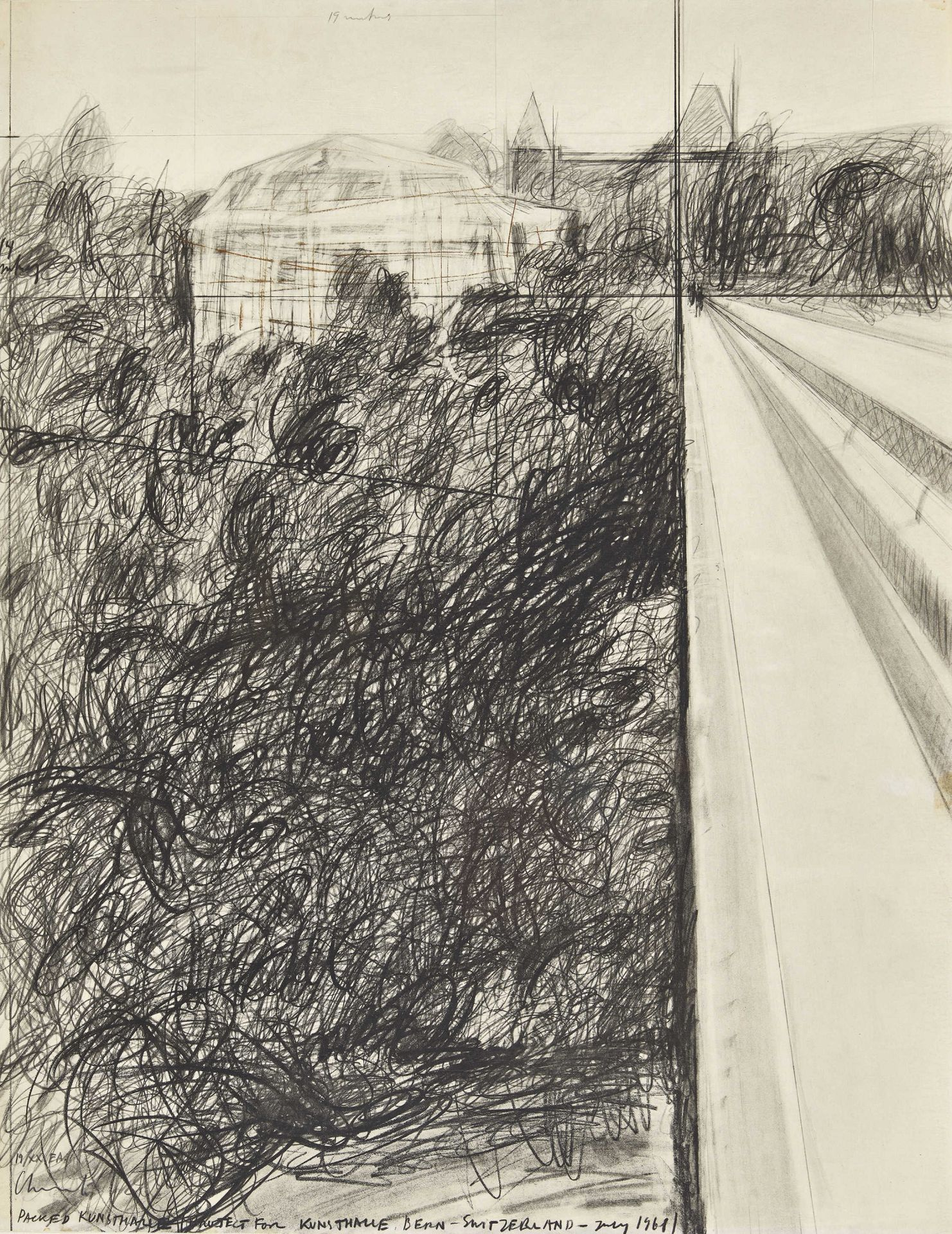 """CHRISTO & JEANNE-CLAUDE (JAVACHEFF, CHRISTO UND JEANNE-CLAUDE): """"Packed Kunsthalle Project for K"""