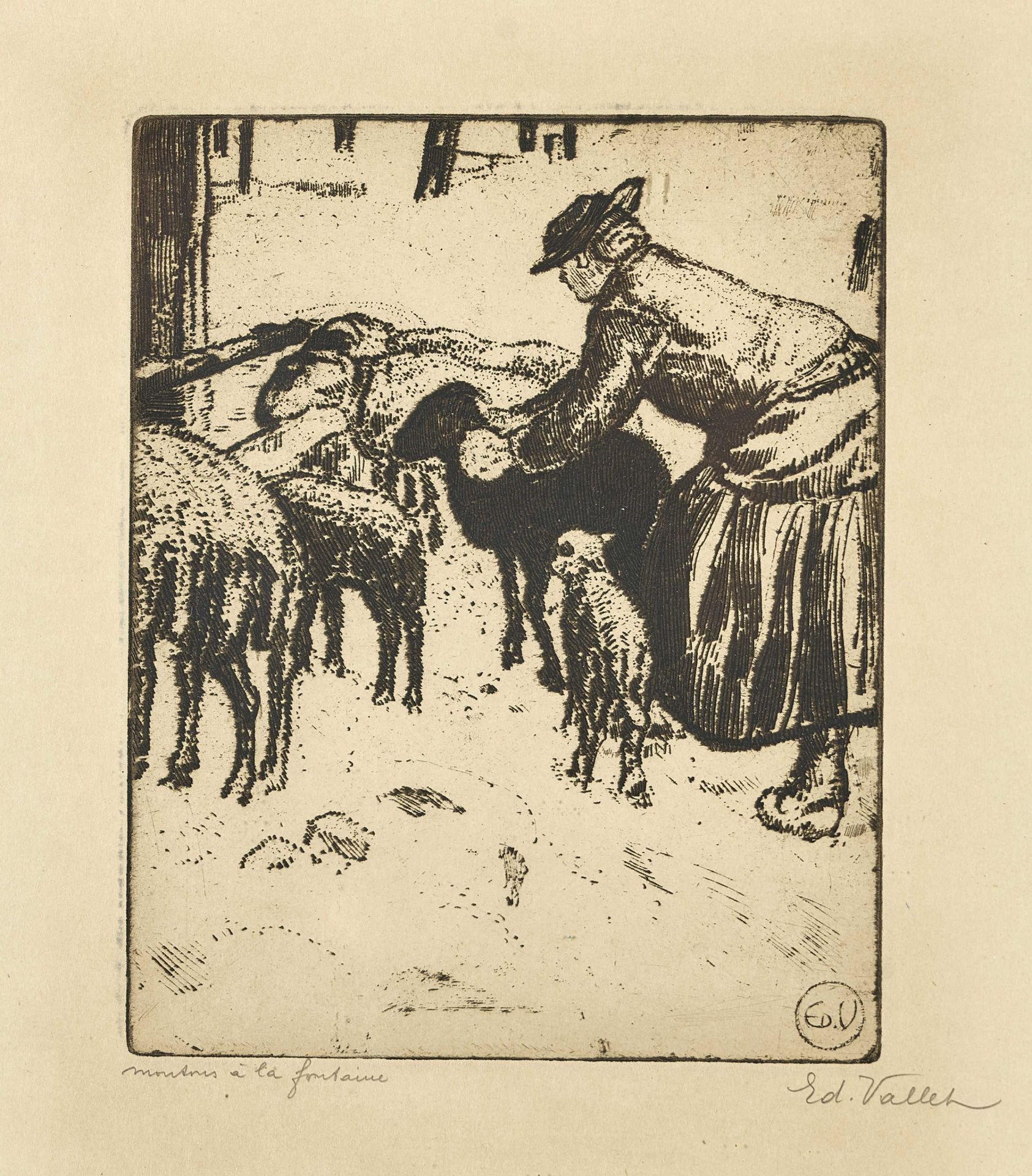 """VALLET, ÉDOUARD: """"Mouton à la fontaine""""."""