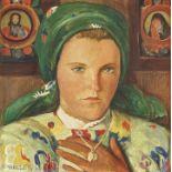 BIÉLER, ERNEST: Portrait de jeune valaisanne au foulard et au collier.
