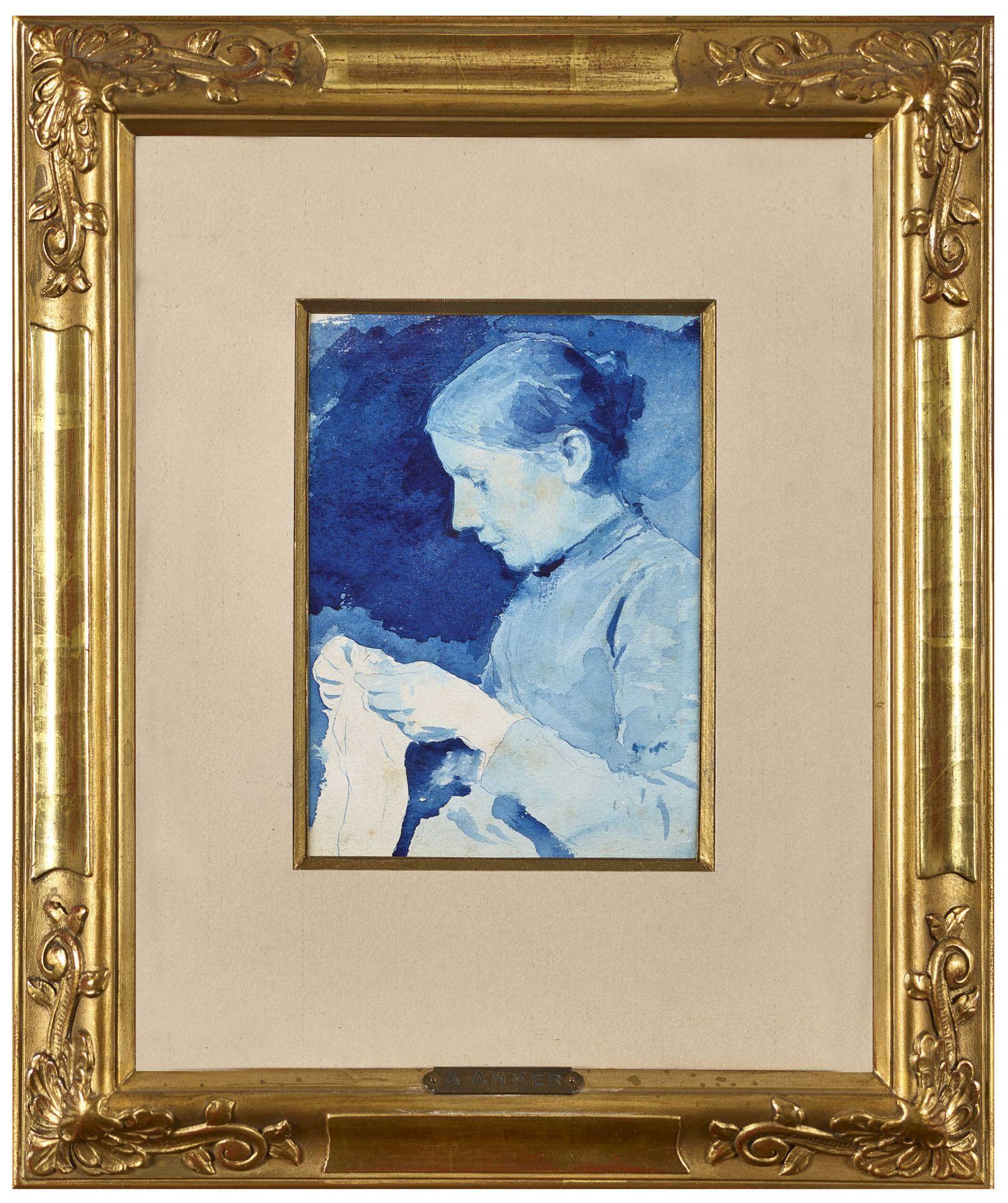 """ANKER, ALBERT: """"Femme tricotante"""". - Image 2 of 3"""