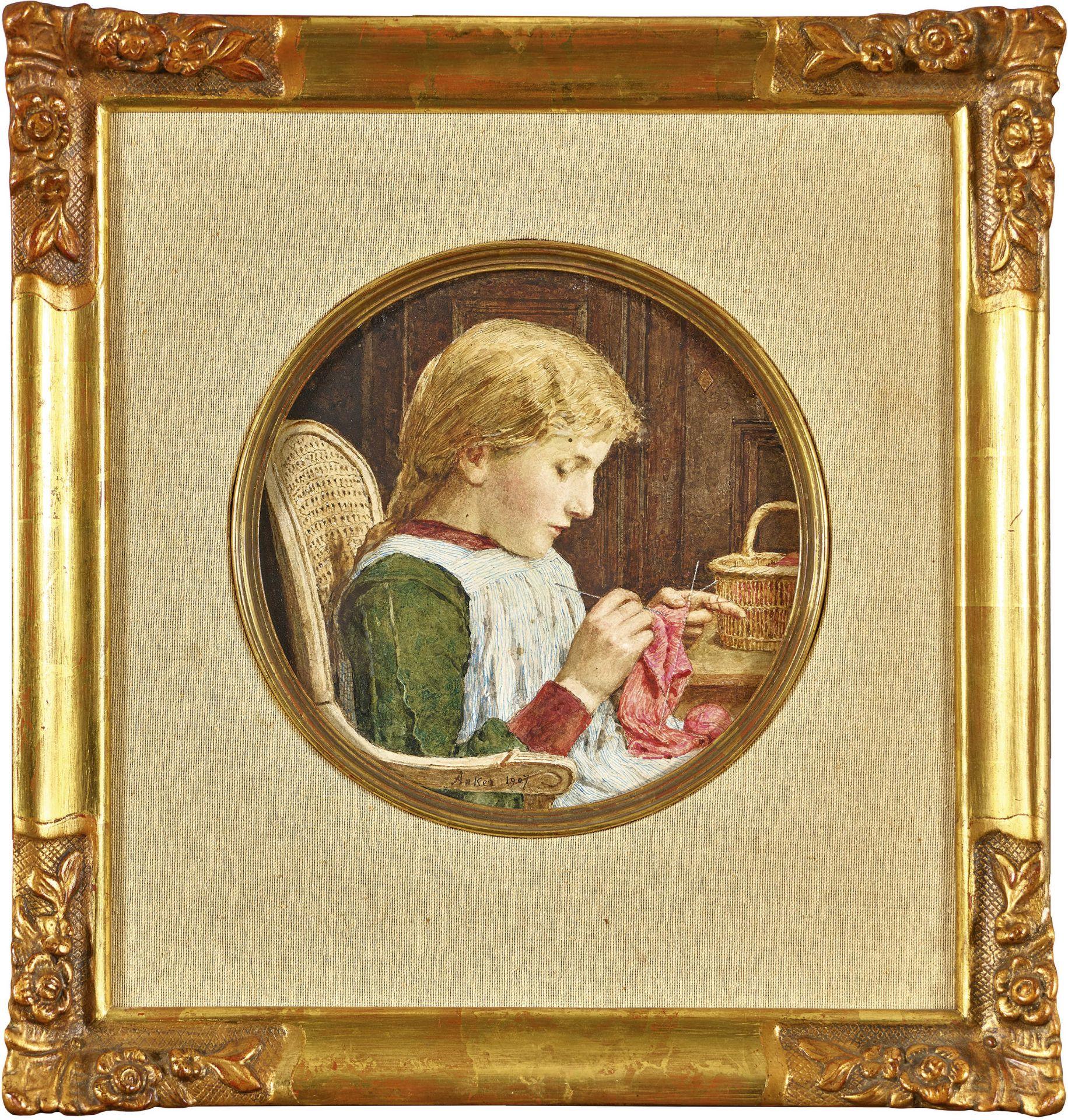 ANKER, ALBERT: Mädchen mit Strickarbeit. - Image 2 of 3