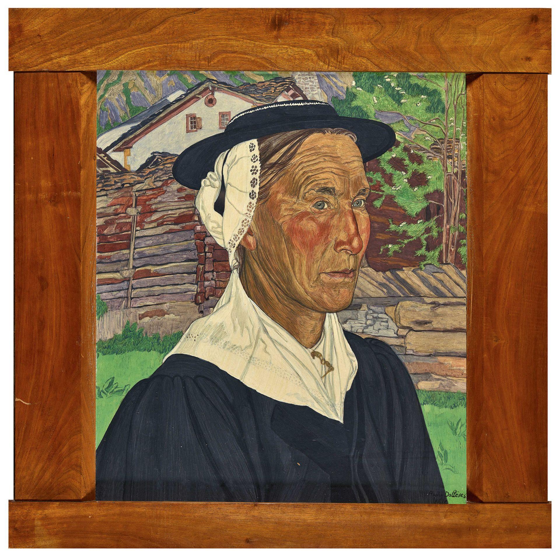 DALLÈVES, RAPHY: Portrait d'une valaisanne. - Image 2 of 4