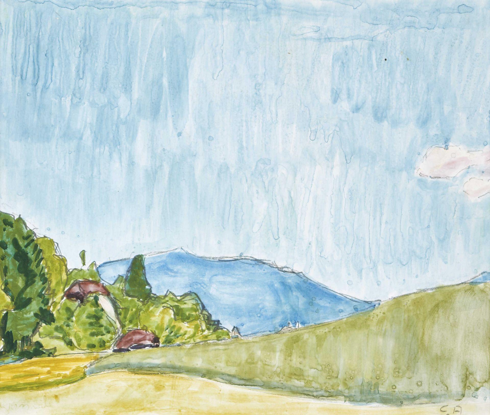 AMIET, CUNO: Bauernhof mit Blick auf einen blauen Hügel.