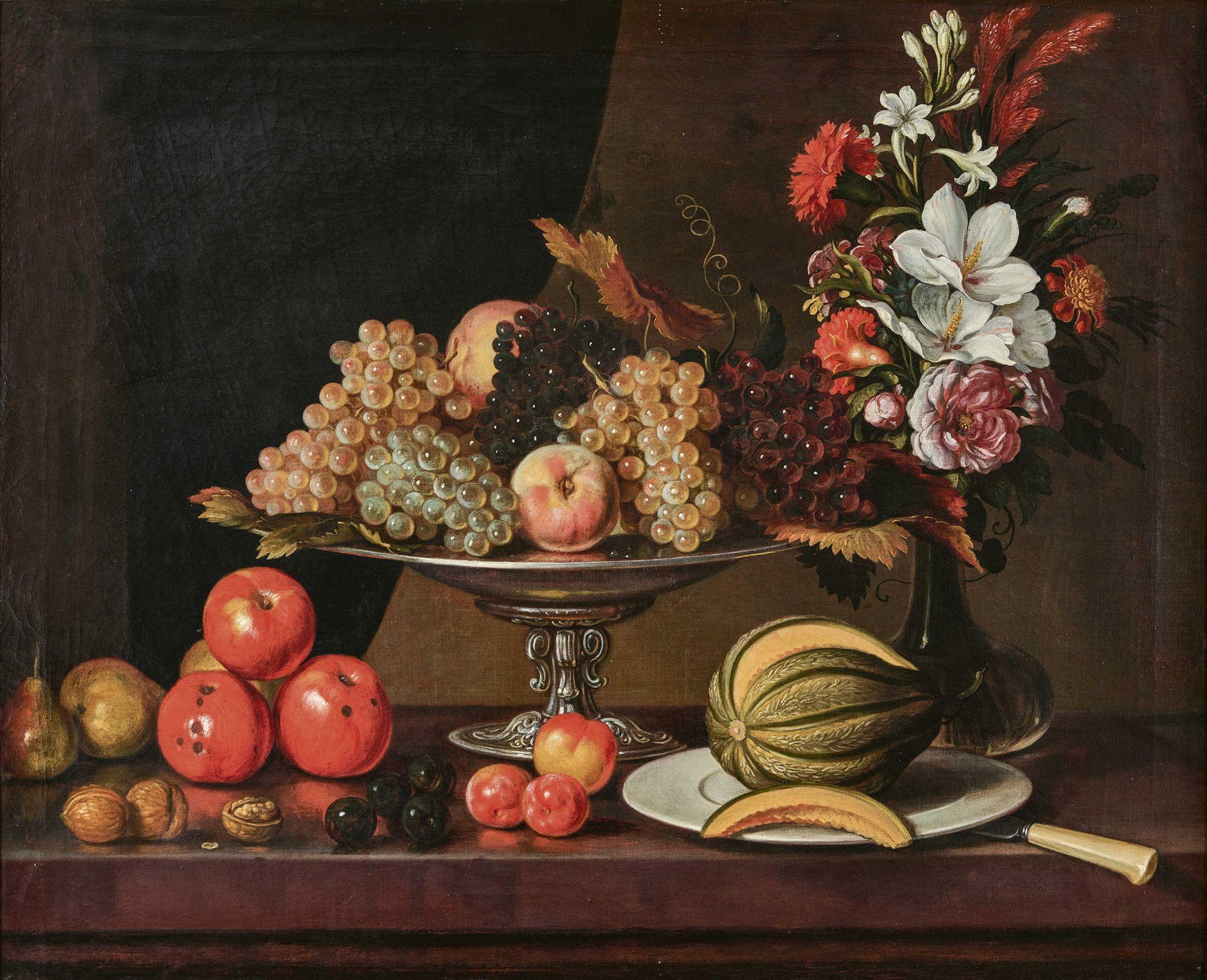 DÜNZ, JOHANNES: Herbstliches Stillleben mit Früchten und Blumenbouquet.