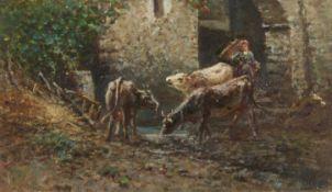 PREDA, AMBROGIO: Kühe und junge Frau mit Gerla.