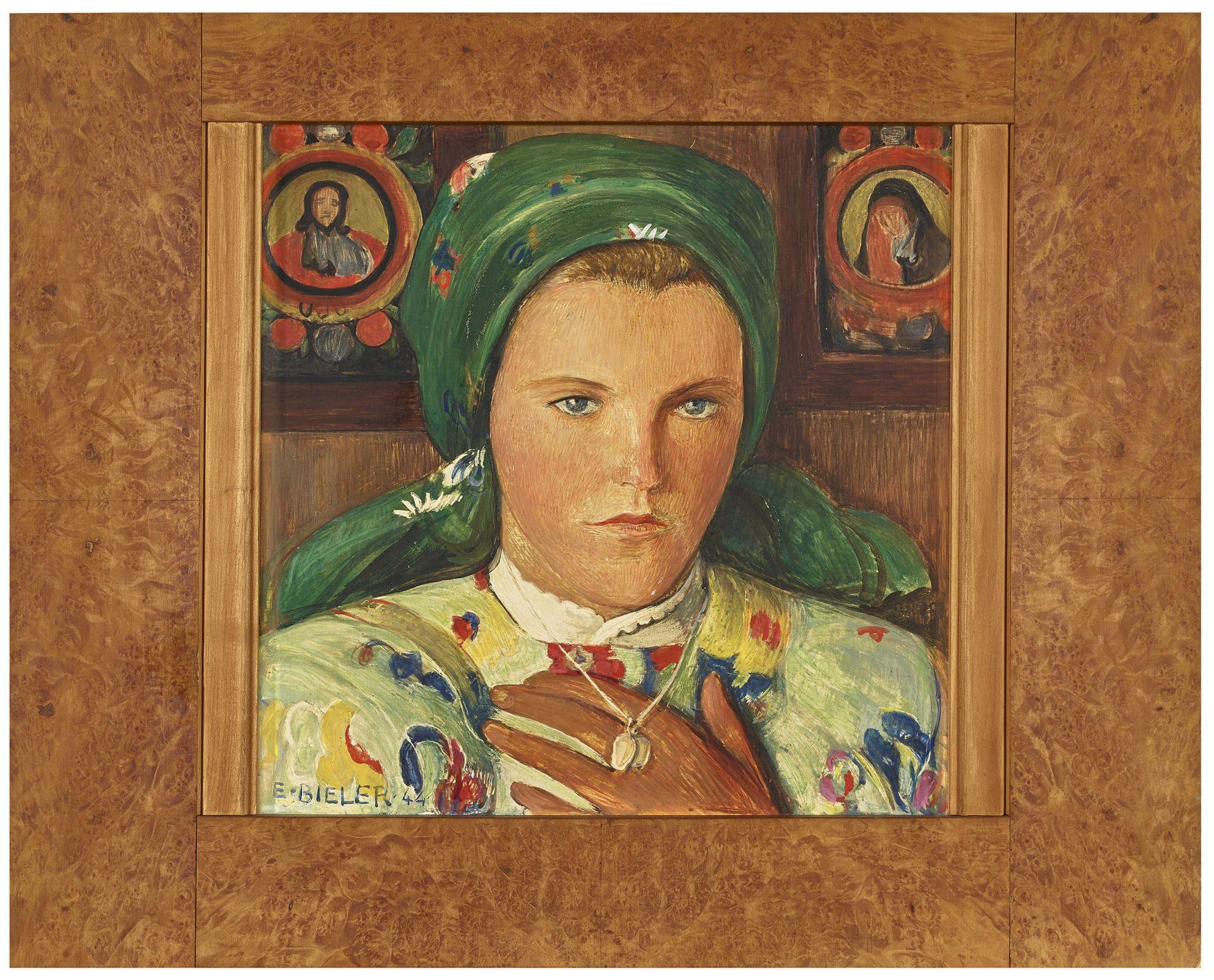 BIÉLER, ERNEST: Portrait de jeune valaisanne au foulard et au collier. - Image 2 of 4