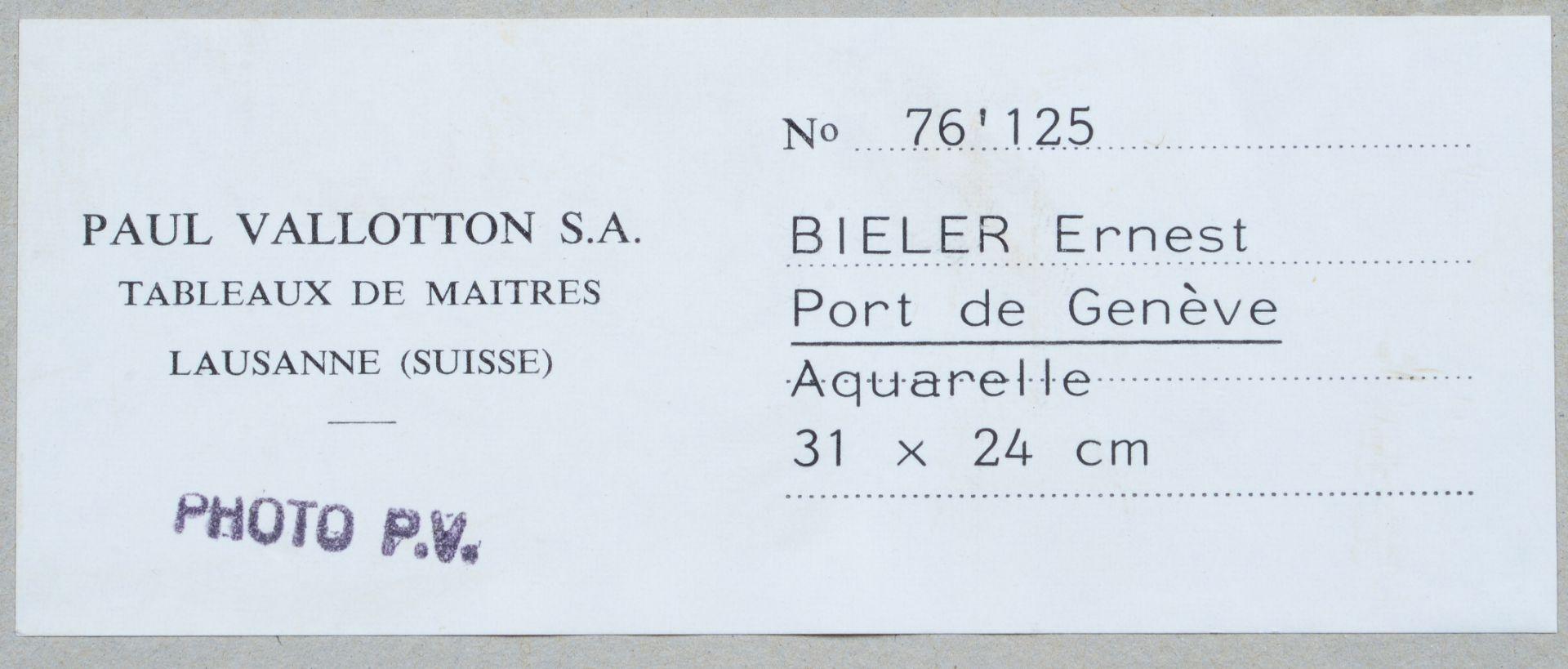 "BIÉLER, ERNEST: ""Port de Genève"". - Image 3 of 4"