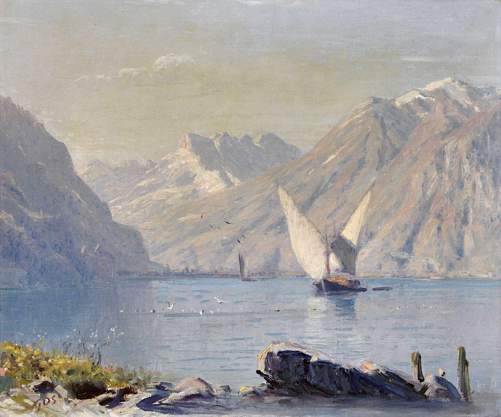 GOS, ALBERT HENRY JOHN: Lac Léman et Dents du Midi.
