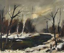 MENGE, CHARLES: Winterliche Flusspartie.