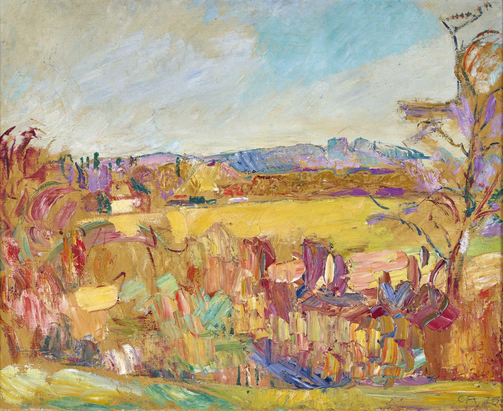 """AMIET, CUNO: """"Gelbe Landschaft""""."""