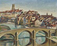 VONLANTHEN, LOUIS JOSEPH: Le pont à Fribourg.