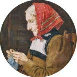 ANKER, ALBERT: Alte Frau beim Stricken.