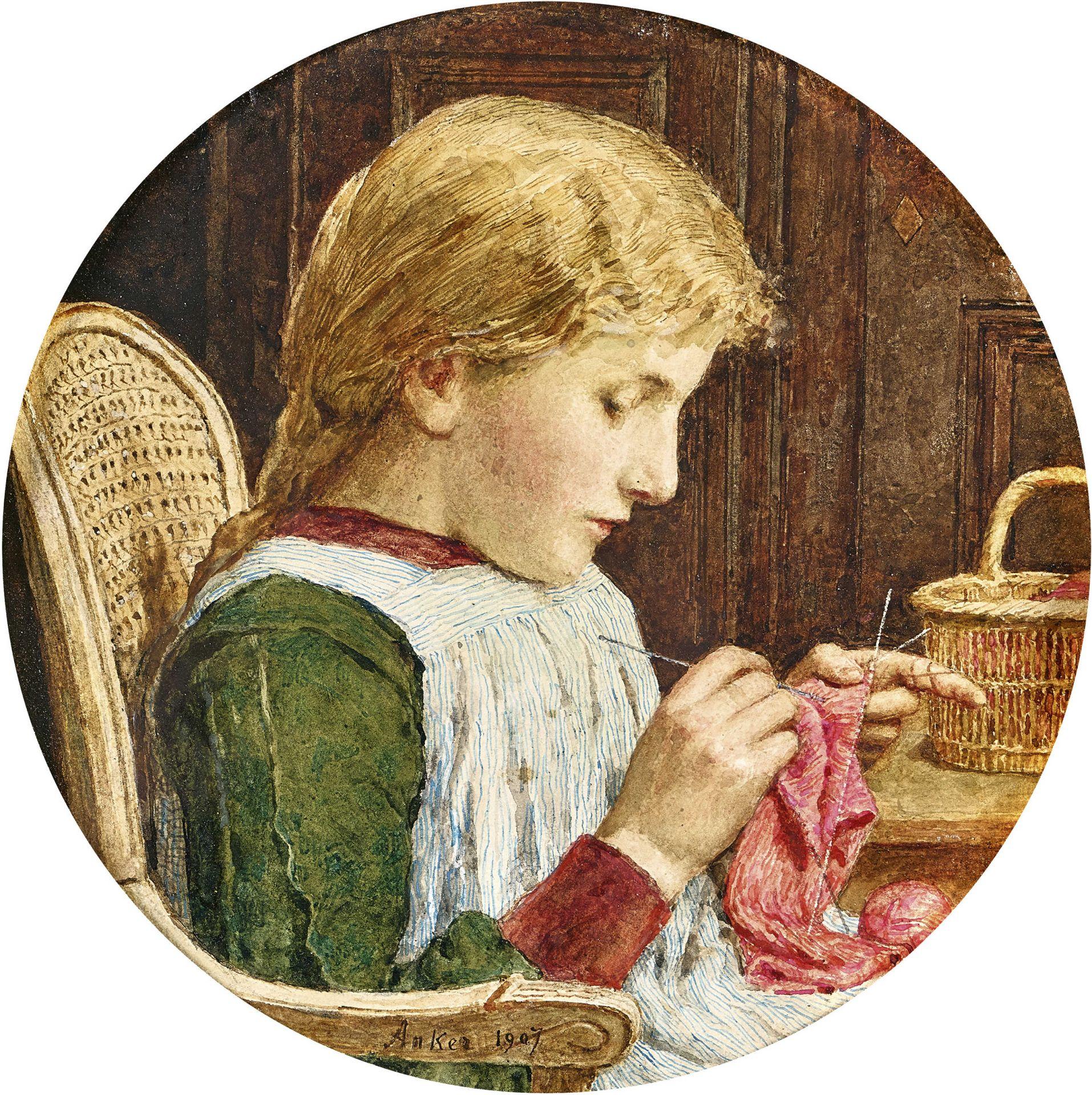 ANKER, ALBERT: Mädchen mit Strickarbeit.