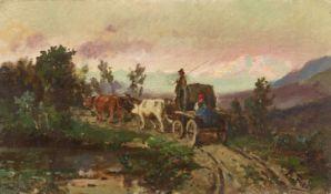 PREDA, AMBROGIO: Landschaft mit Ochsenkarren.