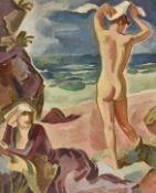 URECH, RUDOLF: Rückenakt und sitzende Frau am Strand.