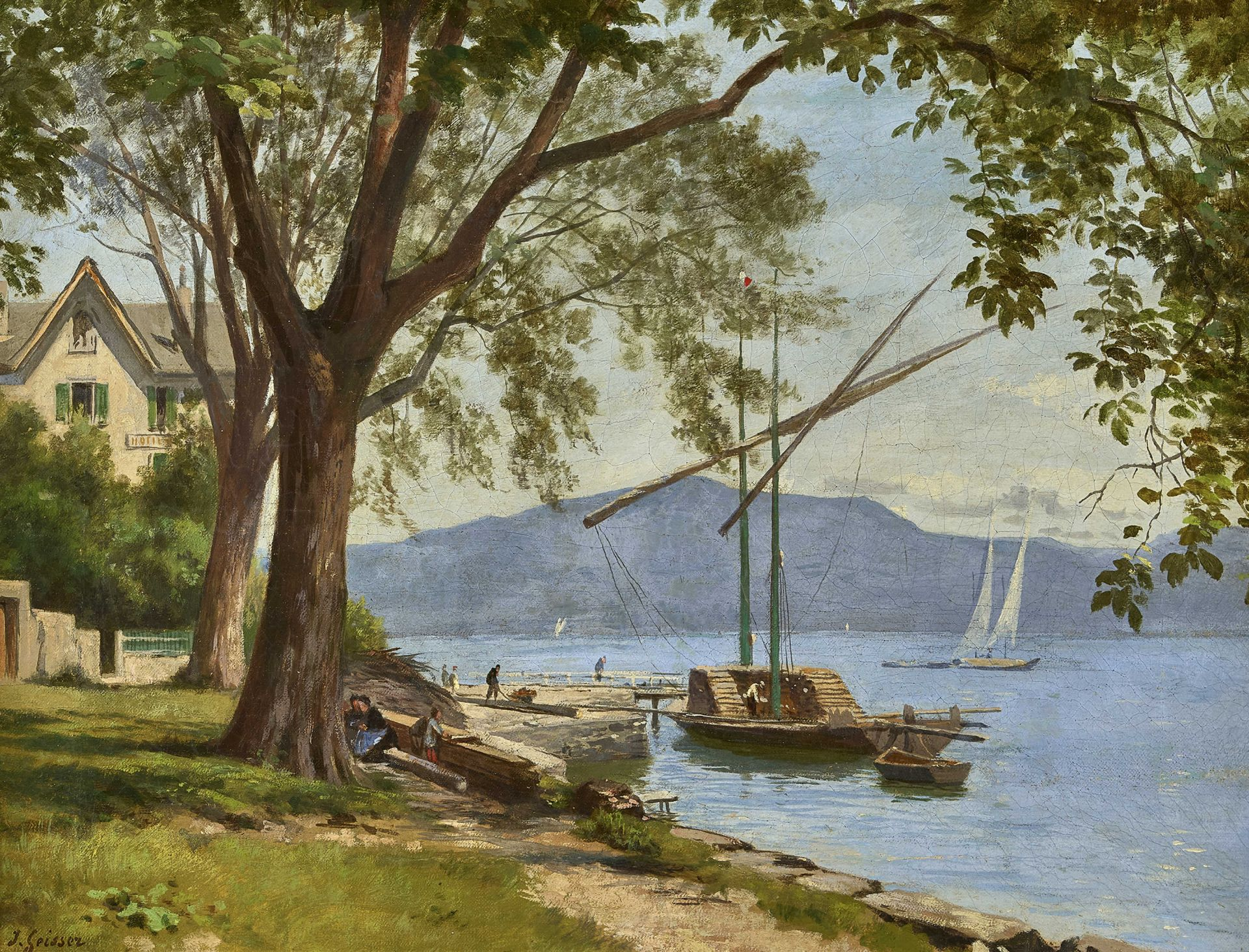 GEISSER, JOHANN JOSEPH: Au bord du Lac Léman.