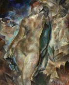 """BOSSHARD, RODOLPHE THÉOPHILE: """"Femme dans le vent (Nu à la draperie bleue)""""."""