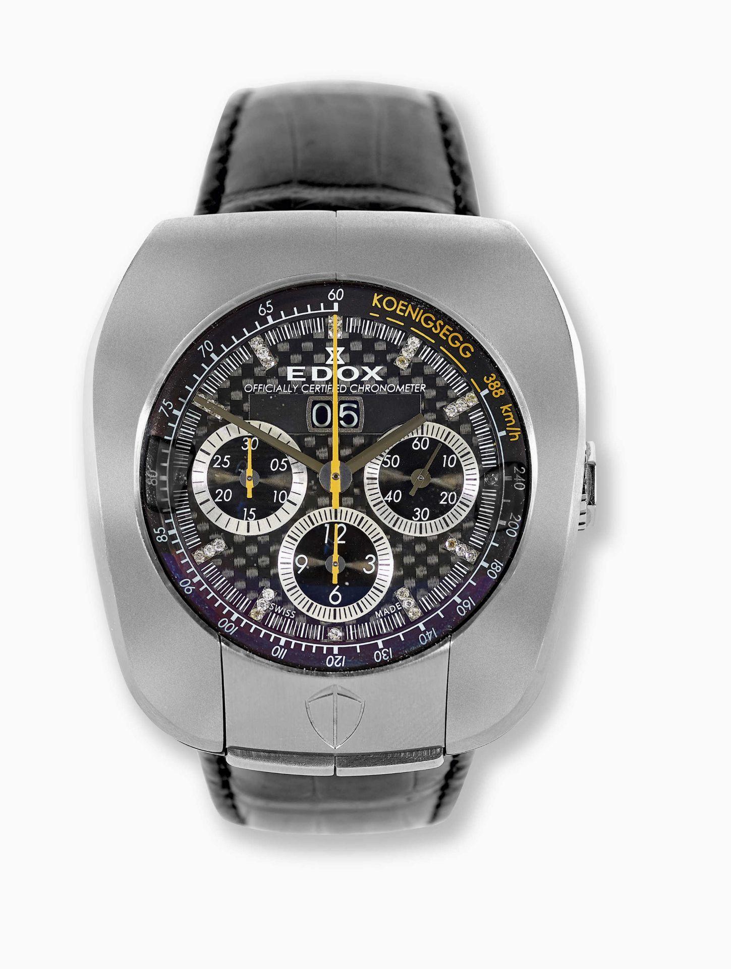 """EDOX: Herrenarmbanduhr """"Koenigsegg Titan Chronometer""""."""