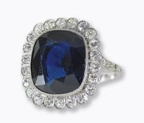 SAPHIR-DIAMANT-RING: