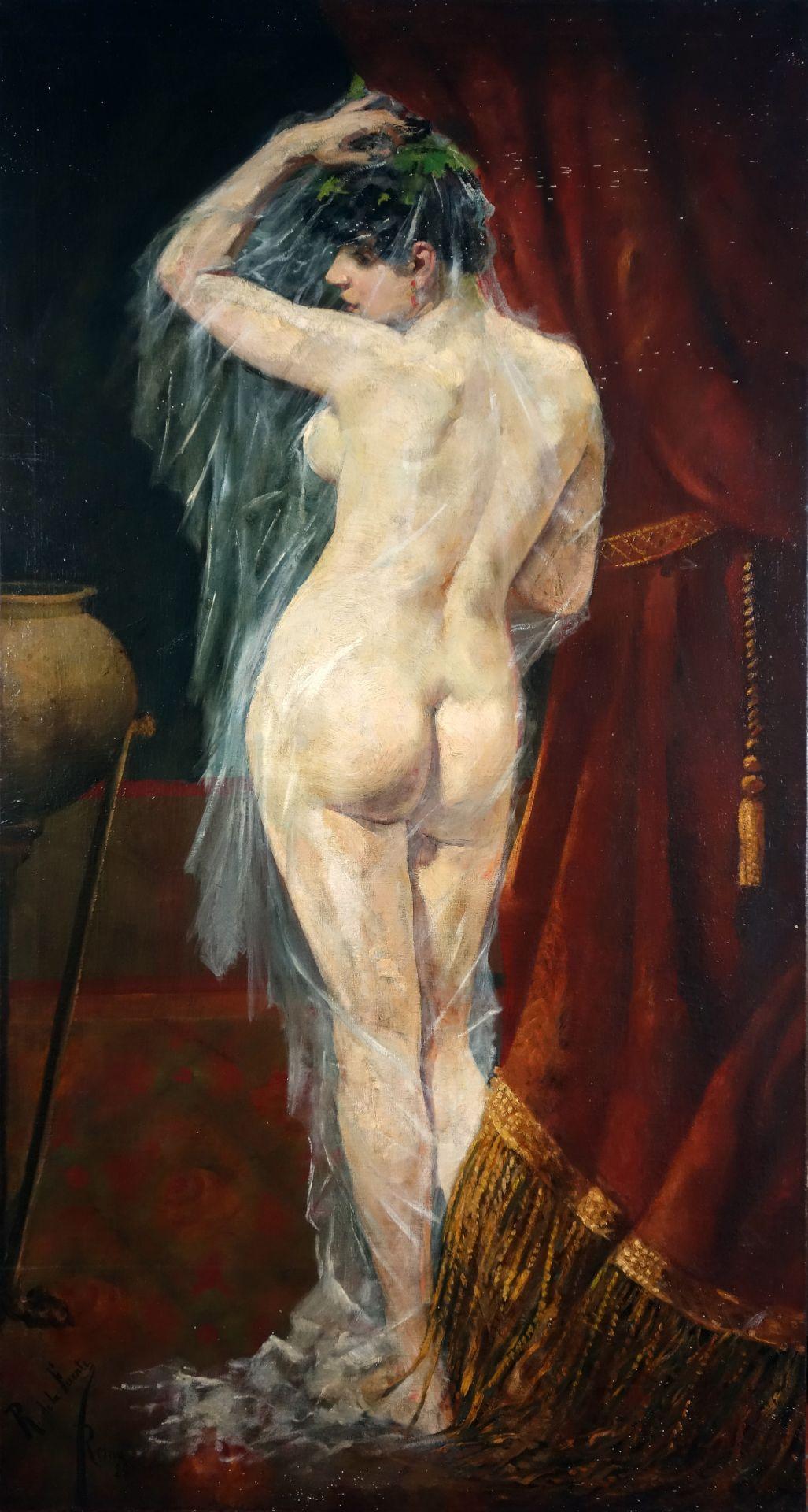 R. de la Fuente Stehender weiblicher Rückenakt (1886)