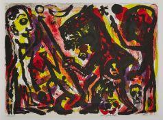 """Farblithographie a.r. penck1939 Dresden - 2017 Zürich """"o.T."""" u. re. sign. a.r. penck Exemplar 40/60,"""